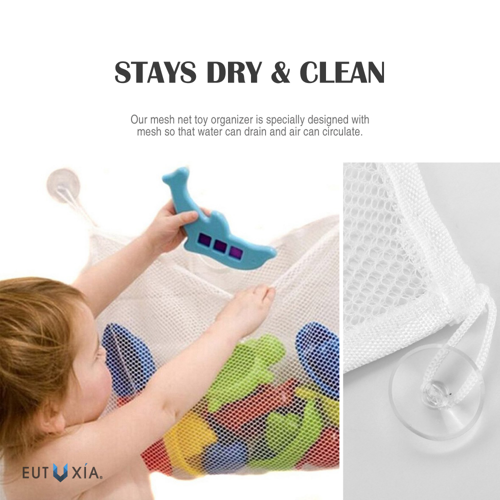 Universal White Hanging Mesh Net Toy Organizer For Kids Bath W/ Suction Cup