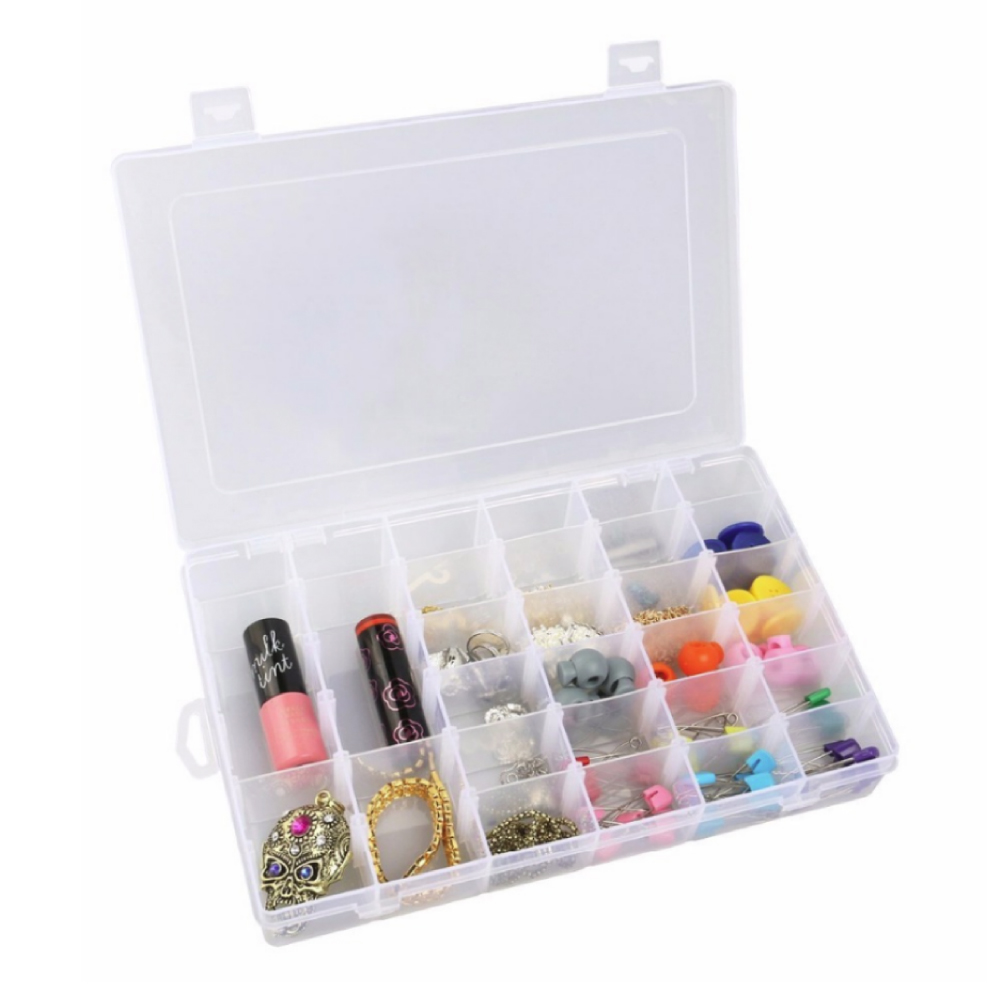 Clear Plastic Organizer 36 Grids Jewelry Box Storage Container w