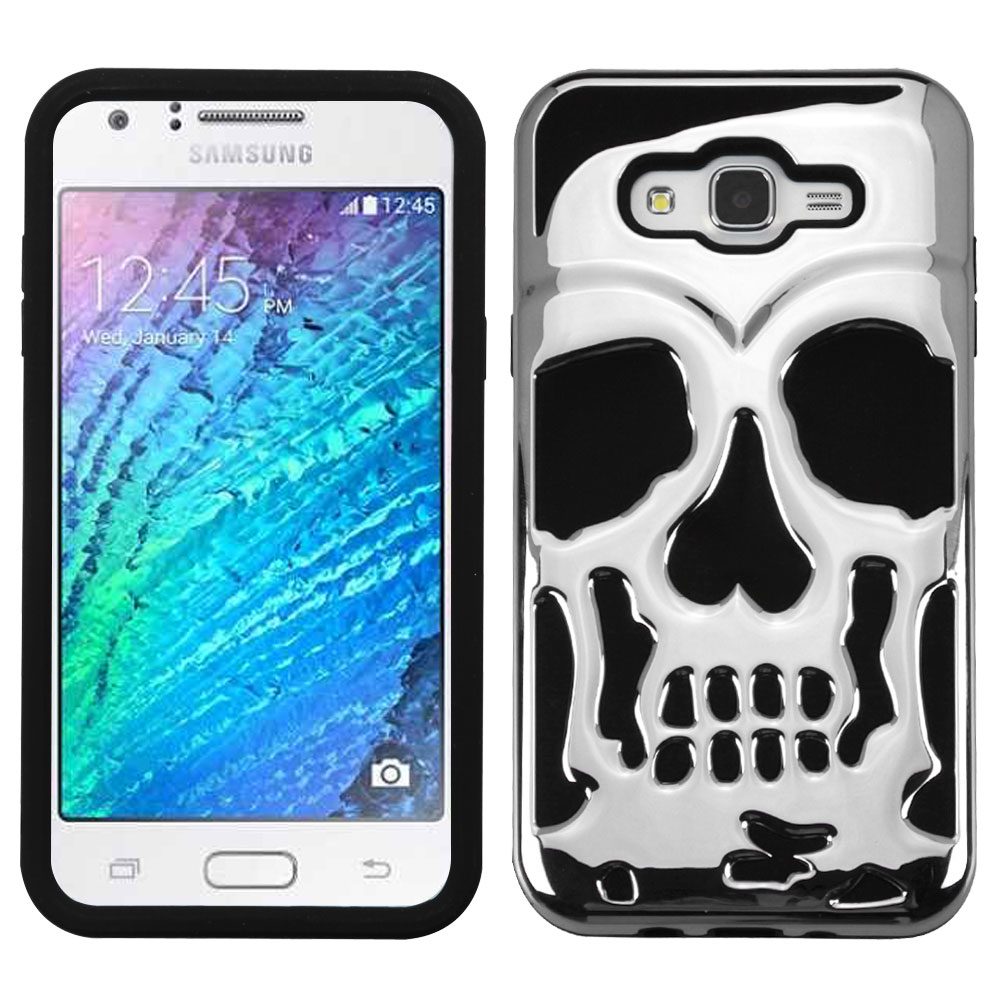 Shop smart with this Chrome Silver Skull Hard Case on Silicone Skin ...
