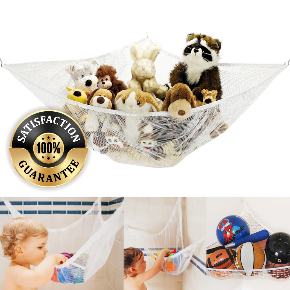 Eutuxia Toy Storage Hammock, Large Organizer for Stuffed Animals, Balls, Plush  Toys, Etc. Stylish & Effective Way to Organize Kids and Children's Rooms.